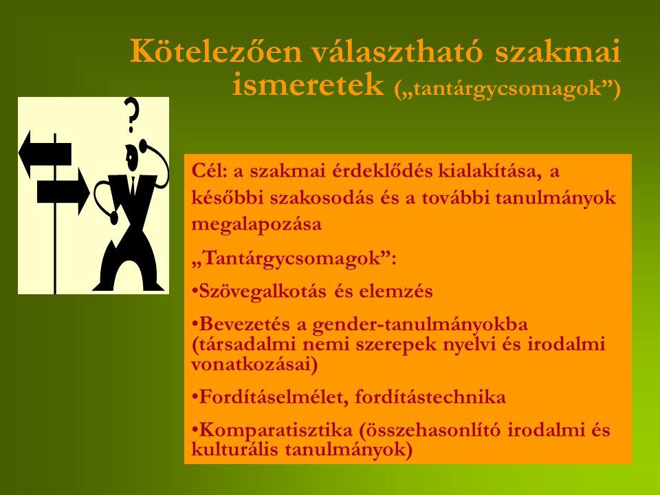 """Kötelezően választható szakmai ismeretek (""""tantárgycsomagok ) Cél: a szakmai érdeklődés kialakítása, a későbbi szakosodás és a további tanulmányok megalapozása """"Tantárgycsomagok : Szövegalkotás és elemzés Bevezetés a gender-tanulmányokba (társadalmi nemi szerepek nyelvi és irodalmi vonatkozásai) Fordításelmélet, fordítástechnika Komparatisztika (összehasonlító irodalmi és kulturális tanulmányok)"""