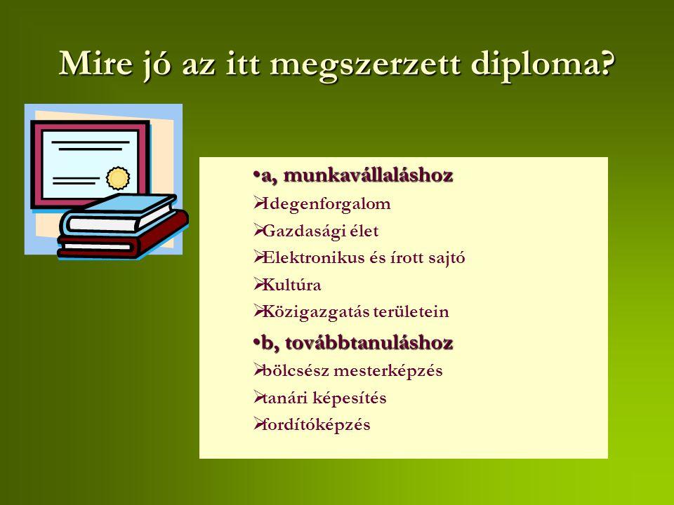 Mire jó az itt megszerzett diploma? a, munkavállaláshoza, munkavállaláshoz  Idegenforgalom  Gazdasági élet  Elektronikus és írott sajtó  Kultúra 