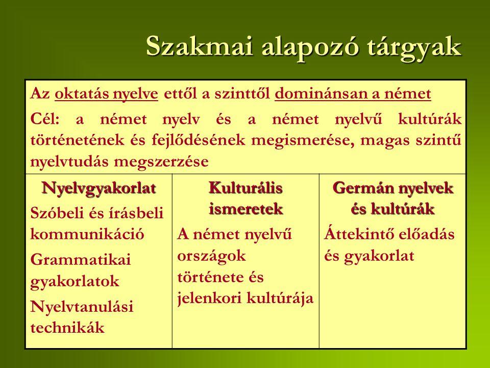 Szakmai törzsanyag- nyelvi ismeretek Kiejtési gyakorlat Társalgási gyakorlat Stílusgyakorlat Fordítási gyakorlat N  M Fordítási gyakorlat M  N