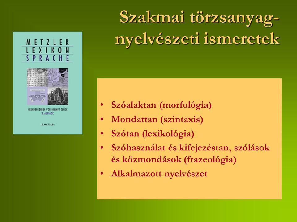 Szakmai törzsanyag- nyelvészetiismeretek Szakmai törzsanyag- nyelvészeti ismeretek Szóalaktan (morfológia) Mondattan (szintaxis) Szótan (lexikológia) Szóhasználat és kifejezéstan, szólások és közmondások (frazeológia) Alkalmazott nyelvészet