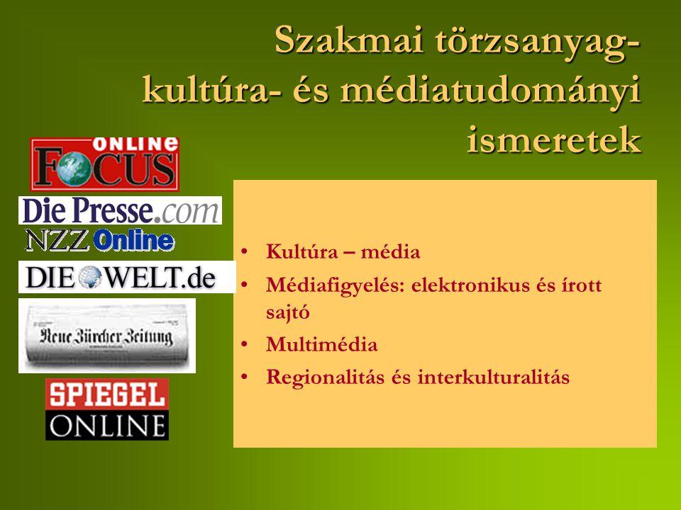 Szakmai törzsanyag- kultúra- és médiatudományi ismeretek Kultúra – média Médiafigyelés: elektronikus és írott sajtó Multimédia Regionalitás és interkulturalitás