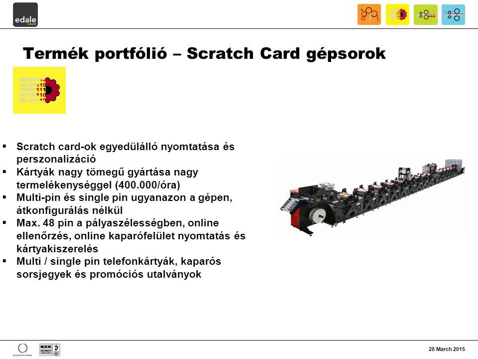 28 March 2015 Termék portfólió – Scratch Card gépsorok  Scratch card-ok egyedülálló nyomtatása és perszonalizáció  Kártyák nagy tömegű gyártása nagy