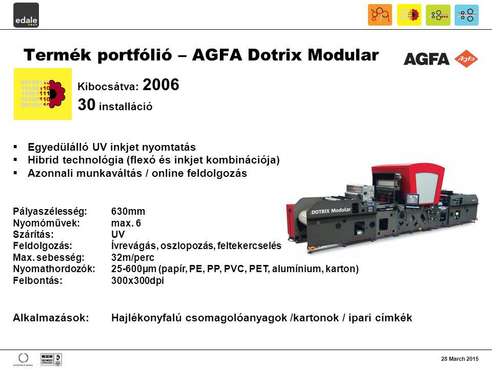28 March 2015 Termék portfólió – AGFA Dotrix Modular  Egyedülálló UV inkjet nyomtatás  Hibrid technológia (flexó és inkjet kombinációja)  Azonnali