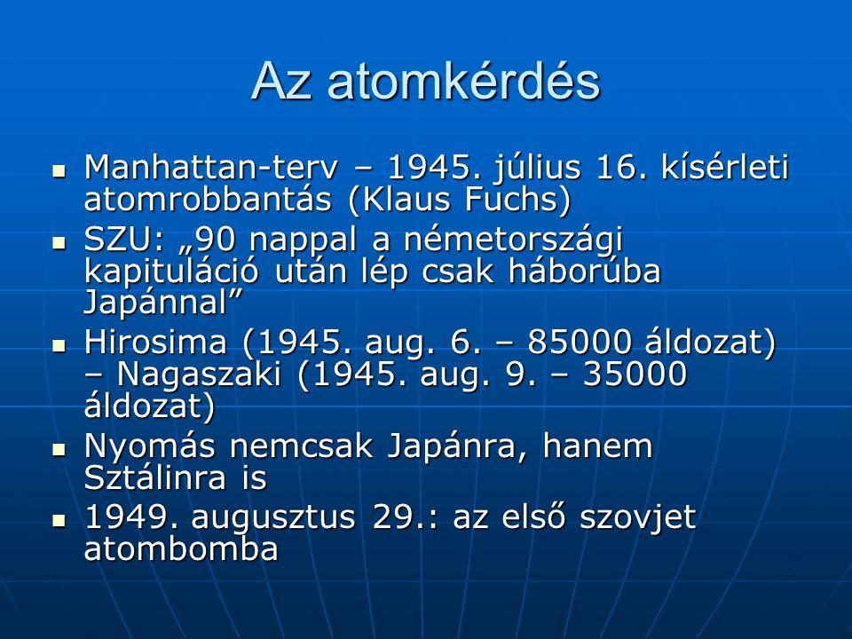 Az atomkérdés Manhattan-terv – 1945. július 16. kísérleti atomrobbantás (Klaus Fuchs) Manhattan-terv – 1945. július 16. kísérleti atomrobbantás (Klaus