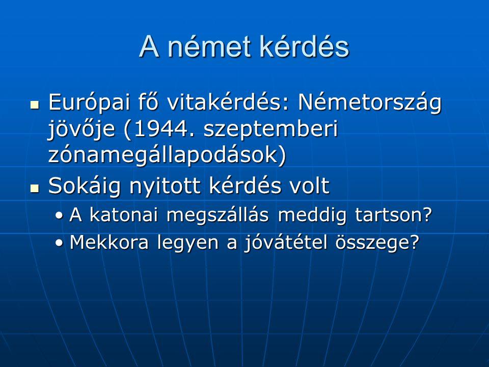 A német kérdés Európai fő vitakérdés: Németország jövője (1944. szeptemberi zónamegállapodások) Európai fő vitakérdés: Németország jövője (1944. szept