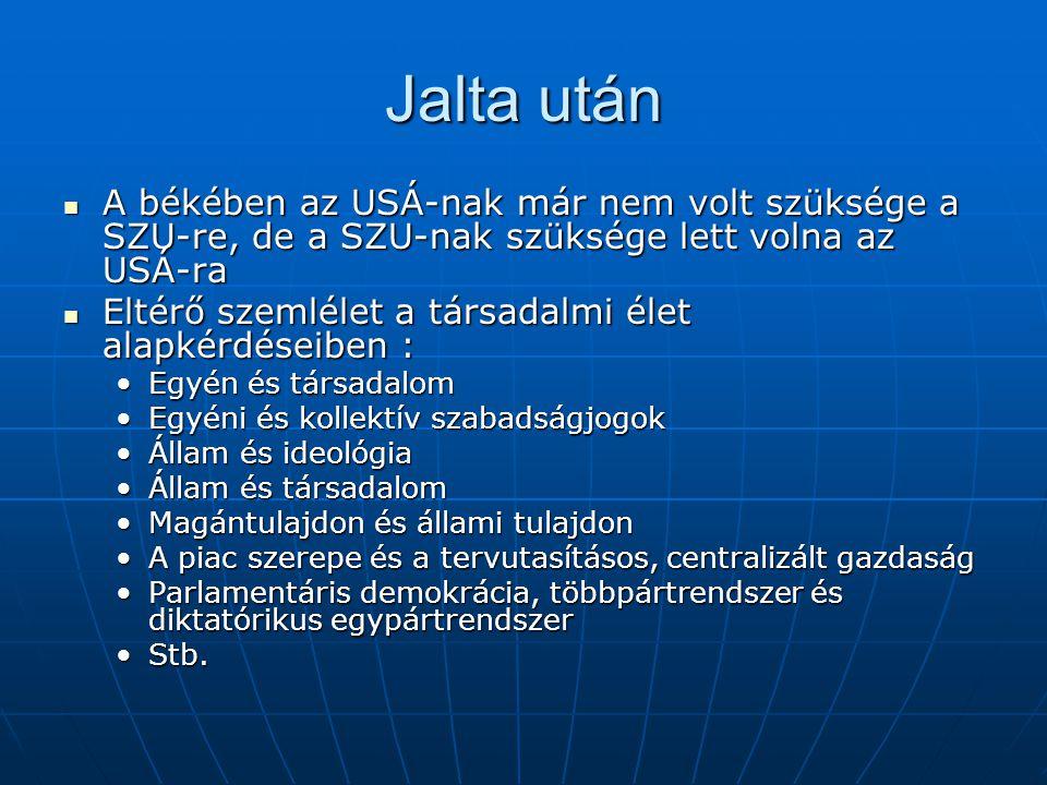 Jalta után A békében az USÁ-nak már nem volt szüksége a SZU-re, de a SZU-nak szüksége lett volna az USÁ-ra A békében az USÁ-nak már nem volt szüksége