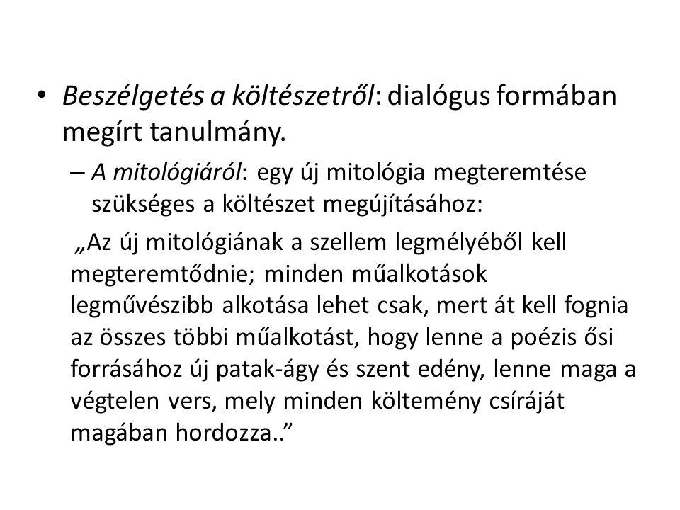 """Beszélgetés a költészetről: dialógus formában megírt tanulmány. – A mitológiáról: egy új mitológia megteremtése szükséges a költészet megújításához: """""""