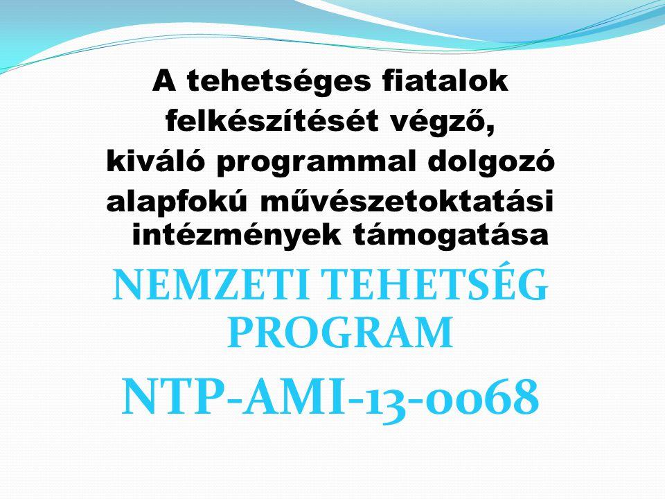 A tehetséges fiatalok felkészítését végző, kiváló programmal dolgozó alapfokú művészetoktatási intézmények támogatása NEMZETI TEHETSÉG PROGRAM NTP-AMI-13-0068