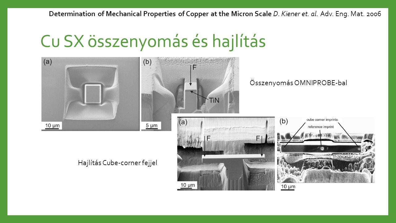 Cu SX összenyomás és hajlítás Determination of Mechanical Properties of Copper at the Micron Scale D. Kiener et. al. Adv. Eng. Mat. 2006 Hajlítás Cube