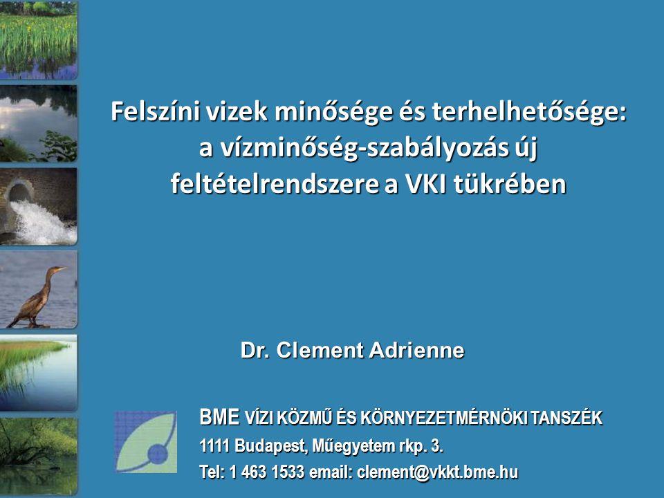 Dr. Clement Adrienne Felszíni vizek minősége és terhelhetősége: a vízminőség-szabályozás új feltételrendszere a VKI tükrében BME VÍZI KÖZMŰ ÉS KÖRNYEZ