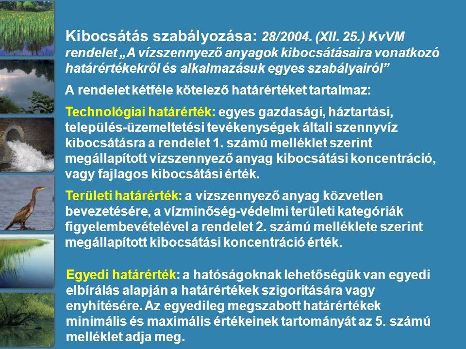 """Kibocsátás szabályozása: 28/2004. (XII. 25.) KvVM rendelet """"A vízszennyező anyagok kibocsátásaira vonatkozó határértékekről és alkalmazásuk egyes szab"""