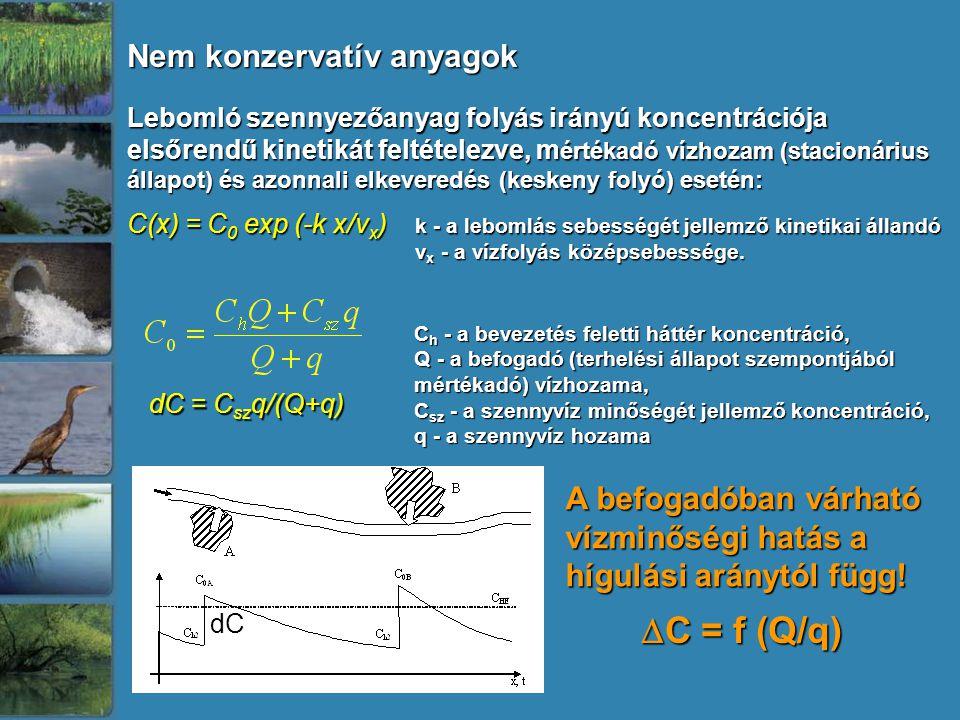 Lebomló szennyezőanyag folyás irányú koncentrációja elsőrendű kinetikát feltételezve, m értékadó vízhozam (stacionárius állapot) és azonnali elkeveredés (keskeny folyó) esetén: C(x) = C 0 exp (-k x/v x ) k - a lebomlás sebességét jellemző kinetikai állandó v x - a vízfolyás középsebessége.