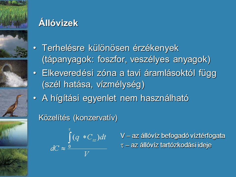 Terhelésre különösen érzékenyek (tápanyagok: foszfor, veszélyes anyagok)Terhelésre különösen érzékenyek (tápanyagok: foszfor, veszélyes anyagok) Elkeveredési zóna a tavi áramlásoktól függ (szél hatása, vízmélység)Elkeveredési zóna a tavi áramlásoktól függ (szél hatása, vízmélység) A hígítási egyenlet nem használhatóA hígítási egyenlet nem használható Állóvizek V – az állóvíz befogadó víztérfogata  – az állóvíz tartózkodási ideje Közelítés (konzervatív)