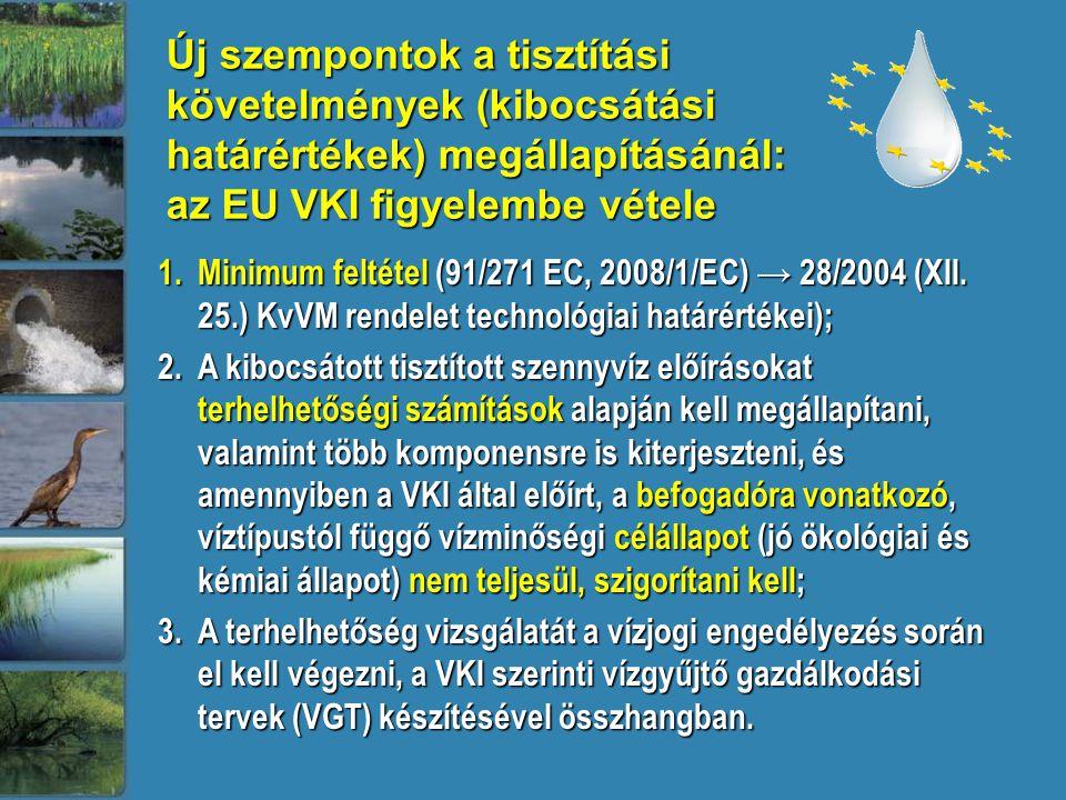 Új szempontok a tisztítási követelmények (kibocsátási határértékek) megállapításánál: az EU VKI figyelembe vétele 1.Minimum feltétel (91/271 EC, 2008/