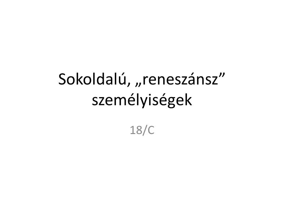 """Sokoldalú, """"reneszánsz személyiségek 18/C"""