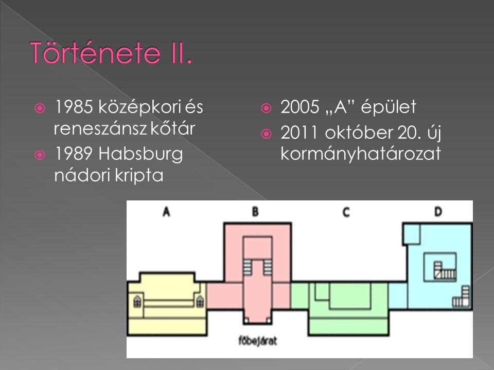 """ 1985 középkori és reneszánsz kőtár  1989 Habsburg nádori kripta  2005 """"A"""" épület  2011 október 20. új kormányhatározat"""