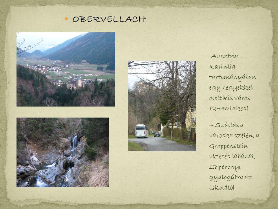 OBERVELLACH - Ausztria Karintia tartományában egy hegyekkel ölelt kis város (2540 lakos) - - Szállás a városka szélén, a Groppenstein vízesés lábánál, 12 percnyi gyalogútra az iskolától