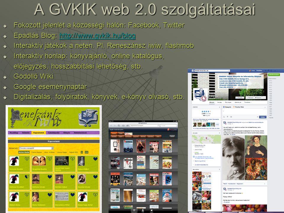 A GVKIK web 2.0 szolgáltatásai  Fokozott jelenlét a közösségi hálón: Facebook, Twitter  Epadlás Blog: http://www.gvkik.hu/blog http://www.gvkik.hu/b