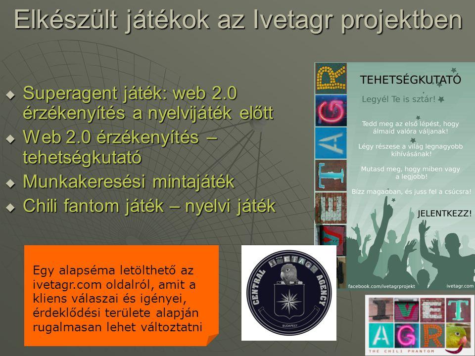 Elkészült játékok az Ivetagr projektben  Superagent játék: web 2.0 érzékenyítés a nyelvijáték előtt  Web 2.0 érzékenyítés – tehetségkutató  Munkake