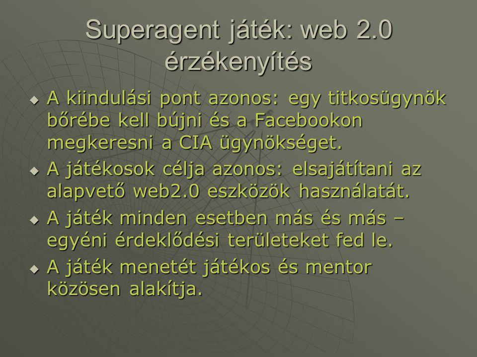 Superagent játék: web 2.0 érzékenyítés  A kiindulási pont azonos: egy titkosügynök bőrébe kell bújni és a Facebookon megkeresni a CIA ügynökséget. 