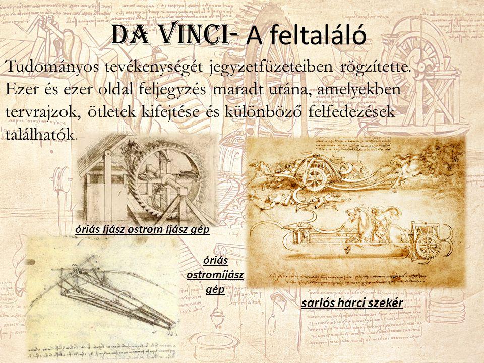 Da Vinci- A feltaláló Tudományos tevékenységét jegyzetfüzeteiben rögzítette.