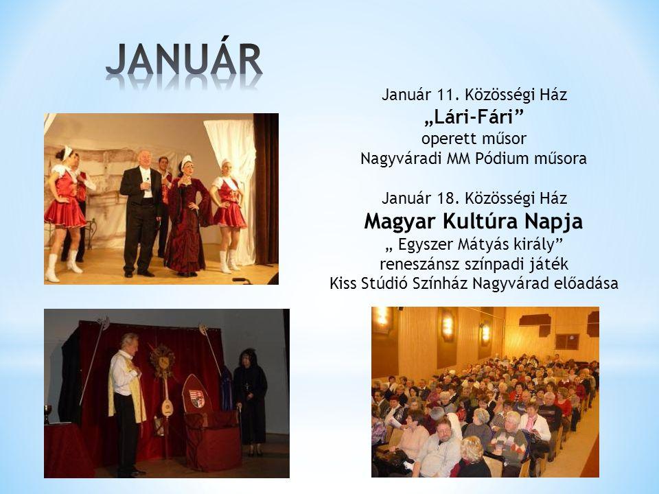 """Január 11.Közösségi Ház """"Lári-Fári operett műsor Nagyváradi MM Pódium műsora Január 18."""
