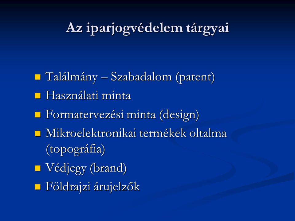 Az iparjogvédelem tárgyai Találmány – Szabadalom (patent) Találmány – Szabadalom (patent) Használati minta Használati minta Formatervezési minta (design) Formatervezési minta (design) Mikroelektronikai termékek oltalma (topográfia) Mikroelektronikai termékek oltalma (topográfia) Védjegy (brand) Védjegy (brand) Földrajzi árujelzők Földrajzi árujelzők