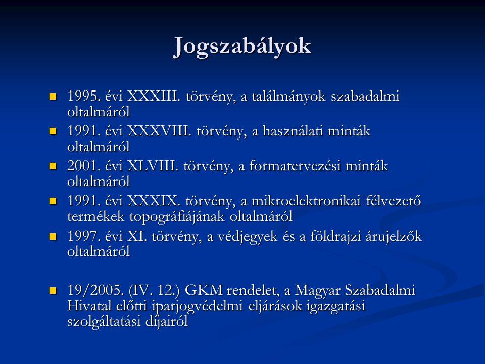 Jogszabályok 1995.évi XXXIII. törvény, a találmányok szabadalmi oltalmáról 1995.