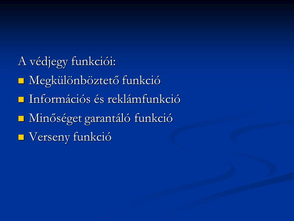 A védjegy funkciói: Megkülönböztető funkció Megkülönböztető funkció Információs és reklámfunkció Információs és reklámfunkció Minőséget garantáló funkció Minőséget garantáló funkció Verseny funkció Verseny funkció