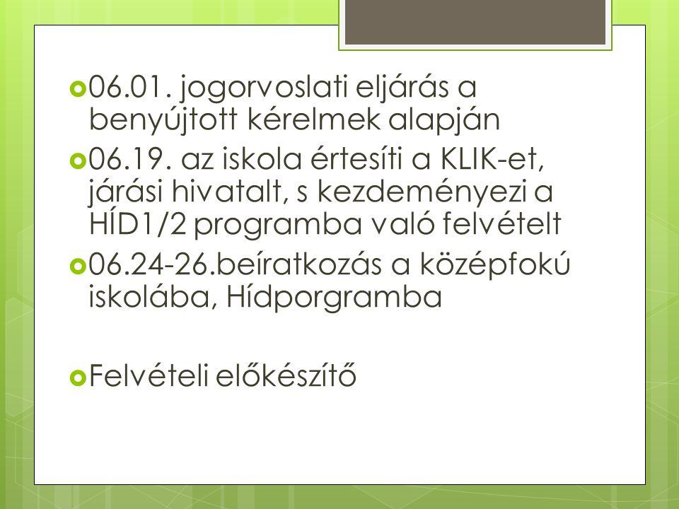  06.01.jogorvoslati eljárás a benyújtott kérelmek alapján  06.19.