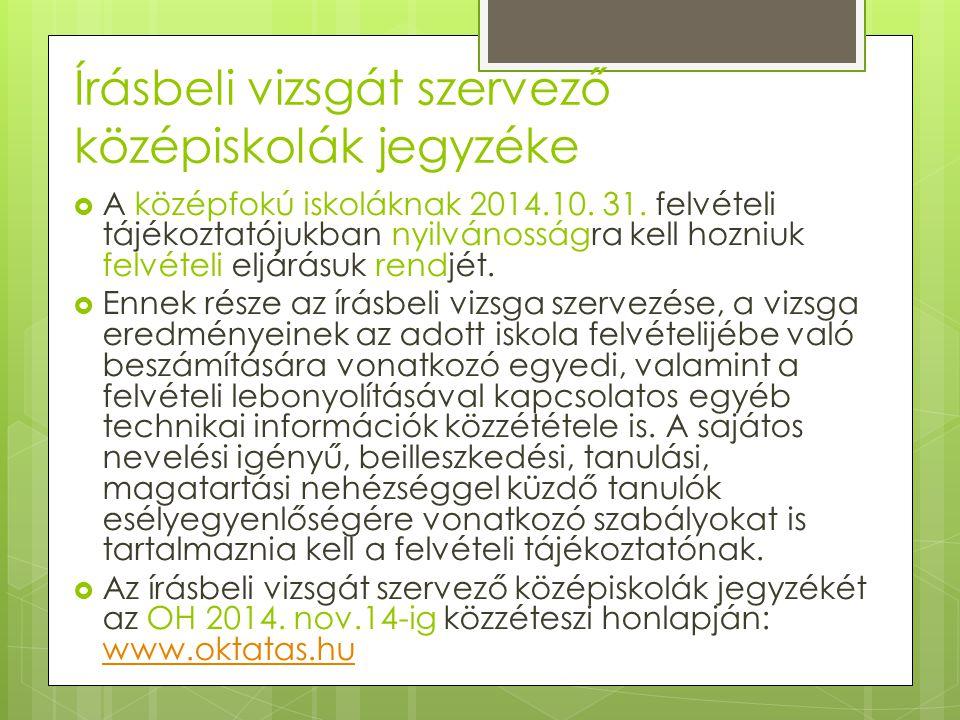 Írásbeli vizsgát szervező középiskolák jegyzéke  A középfokú iskoláknak 2014.10.