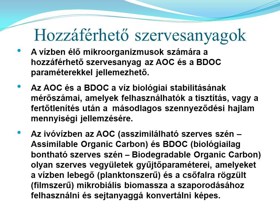 A vízben élő mikroorganizmusok számára a hozzáférhető szervesanyag az AOC és a BDOC paraméterekkel jellemezhető. Az AOC és a BDOC a víz biológiai stab
