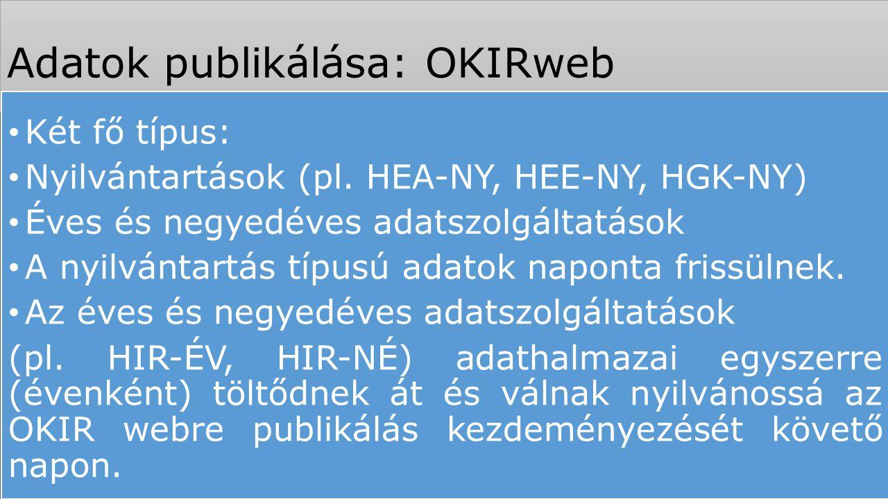 Adatok publikálása: OKIRweb Két fő típus: Nyilvántartások (pl. HEA-NY, HEE-NY, HGK-NY) Éves és negyedéves adatszolgáltatások A nyilvántartás típusú ad