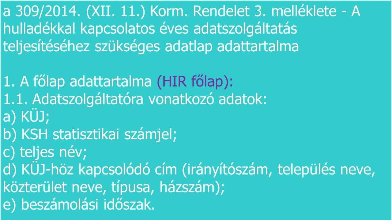 a 309/2014. (XII. 11.) Korm. Rendelet 3. melléklete - A hulladékkal kapcsolatos éves adatszolgáltatás teljesítéséhez szükséges adatlap adattartalma 1.