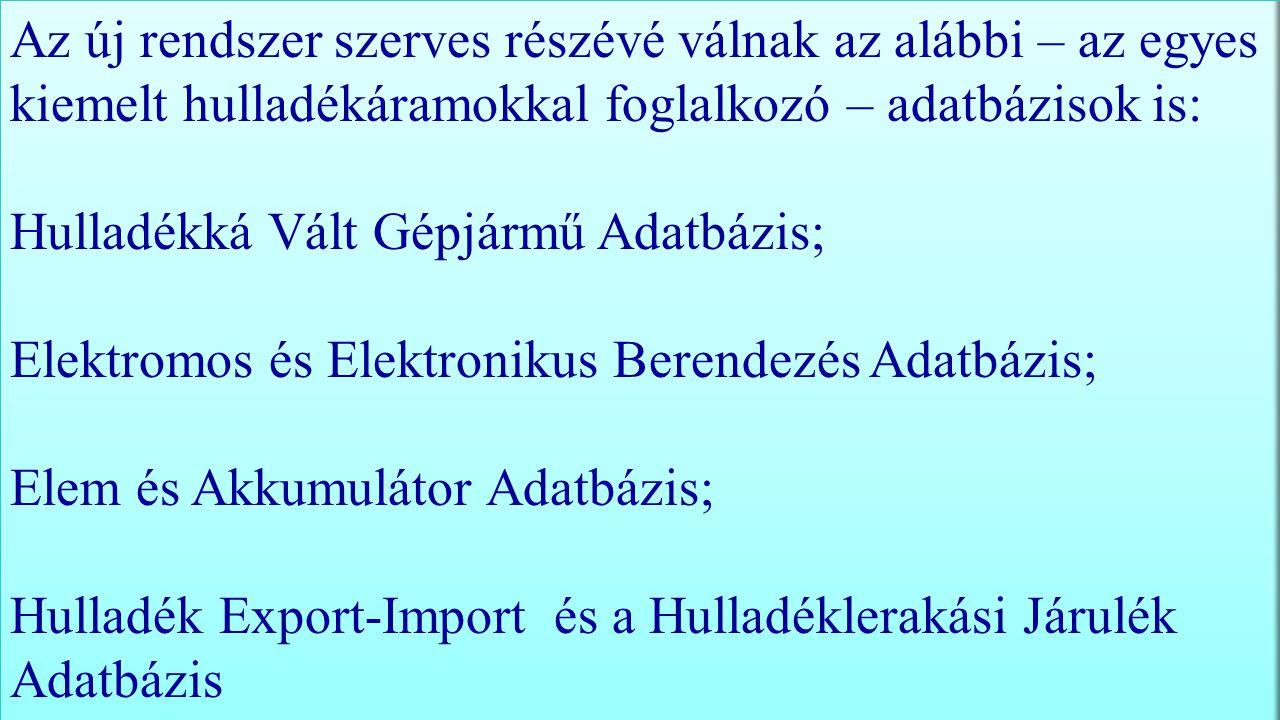 Az új rendszer szerves részévé válnak az alábbi – az egyes kiemelt hulladékáramokkal foglalkozó – adatbázisok is: Hulladékká Vált Gépjármű Adatbázis; Elektromos és Elektronikus Berendezés Adatbázis; Elem és Akkumulátor Adatbázis; Hulladék Export-Import és a Hulladéklerakási Járulék Adatbázis