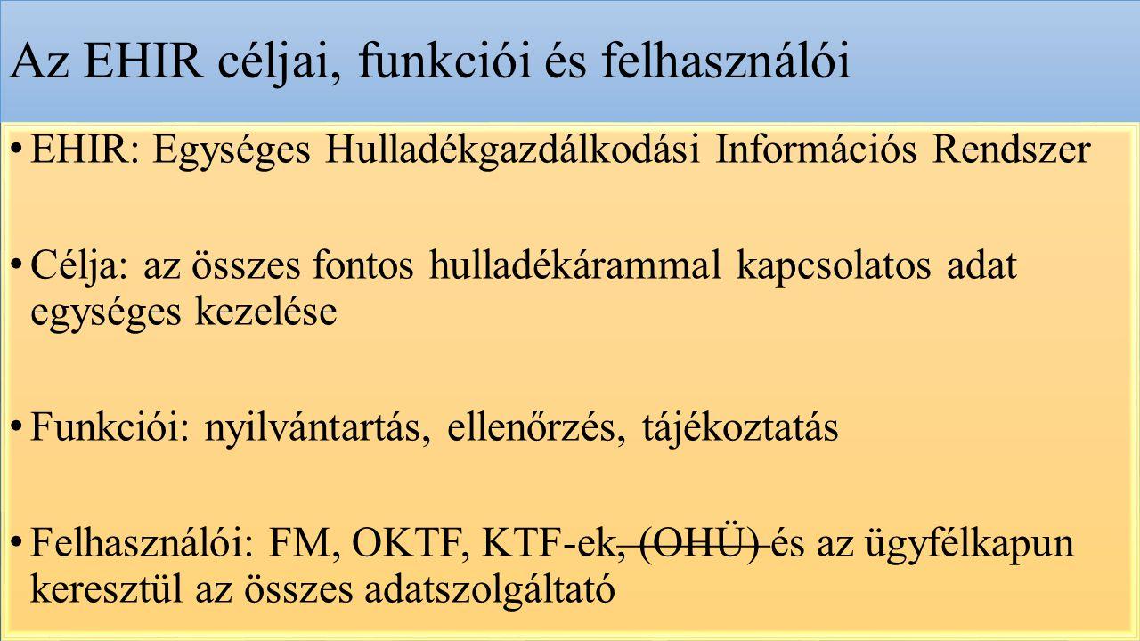 Az EHIR céljai, funkciói és felhasználói EHIR: Egységes Hulladékgazdálkodási Információs Rendszer Célja: az összes fontos hulladékárammal kapcsolatos adat egységes kezelése Funkciói: nyilvántartás, ellenőrzés, tájékoztatás Felhasználói: FM, OKTF, KTF-ek, (OHÜ) és az ügyfélkapun keresztül az összes adatszolgáltató
