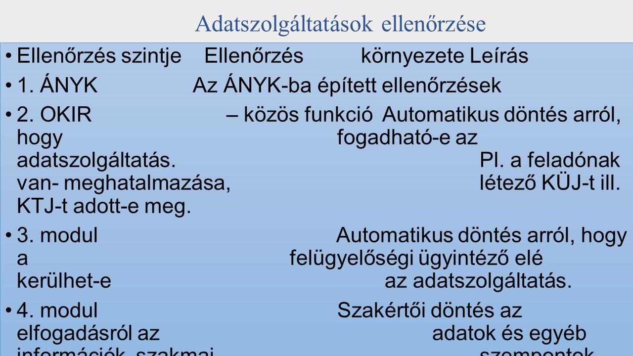 Adatszolgáltatások státuszai Betűjel Státusz Magyarázat KH Kritikus hibás Az KIR megfelelő modulja a 2.