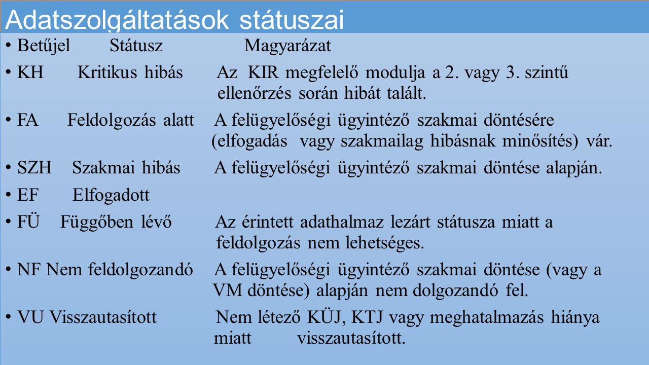 Adatszolgáltatások státuszai Betűjel Státusz Magyarázat KH Kritikus hibás Az KIR megfelelő modulja a 2. vagy 3. szintű ellenőrzés során hibát talált.