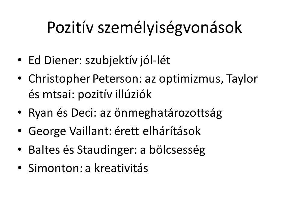Pozitív személyiségvonások Ed Diener: szubjektív jól-lét Christopher Peterson: az optimizmus, Taylor és mtsai: pozitív illúziók Ryan és Deci: az önmeg