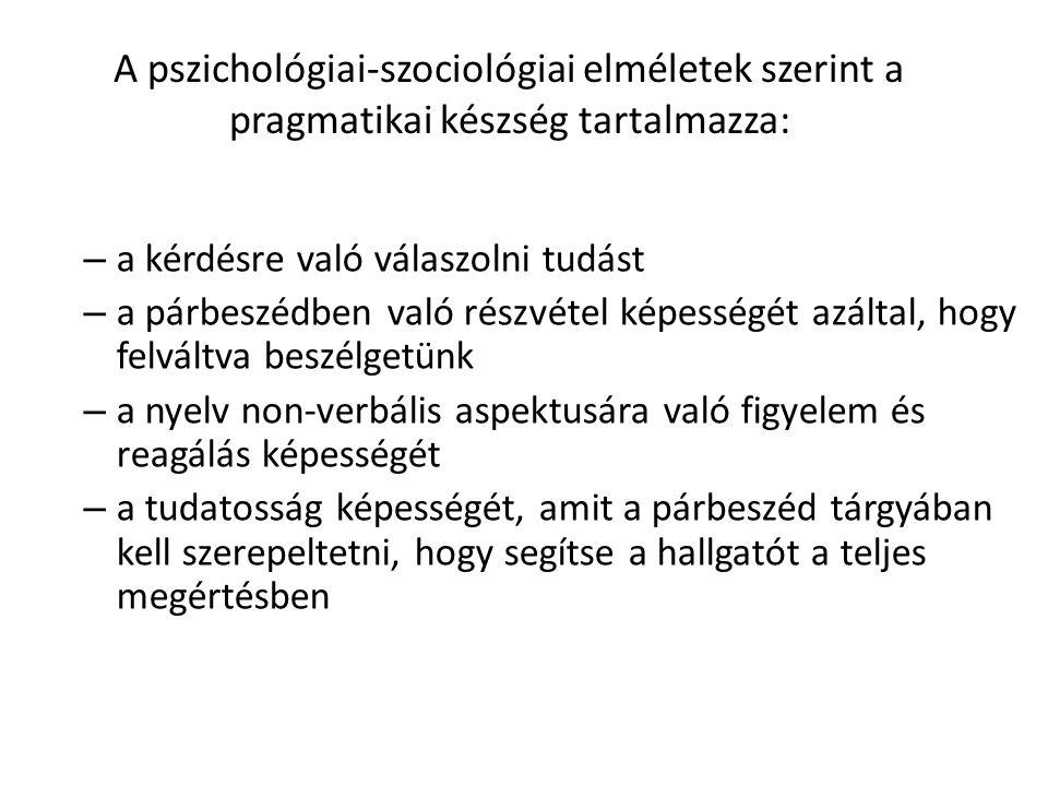 A pszichológiai-szociológiai elméletek szerint a pragmatikai készség tartalmazza: – a kérdésre való válaszolni tudást – a párbeszédben való részvétel