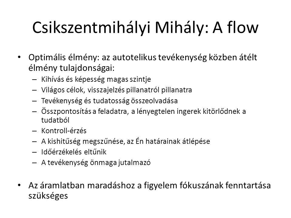 Csikszentmihályi Mihály: A flow Optimális élmény: az autotelikus tevékenység közben átélt élmény tulajdonságai: – Kihívás és képesség magas szintje –