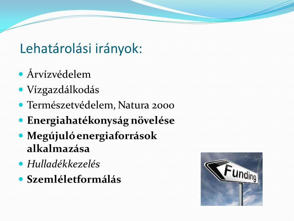 Lehatárolási irányok: Árvízvédelem Vízgazdálkodás Természetvédelem, Natura 2000 Energiahatékonyság növelése Megújuló energiaforrások alkalmazása Hulladékkezelés Szemléletformálás