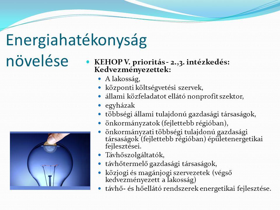 Energiahatékonyság növelése KEHOP V. prioritás - 2.,3. intézkedés: Kedvezményezettek: A lakosság, központi költségvetési szervek, állami közfeladatot