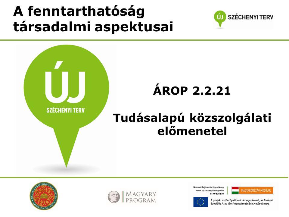 A fenntarthatóság társadalmi aspektusai ÁROP 2.2.21 Tudásalapú közszolgálati előmenetel