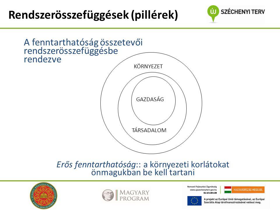 A fenntarthatóság összetevői rendszerösszefüggésbe rendezve Erős fenntarthatóság:: a környezeti korlátokat önmagukban be kell tartani KÖRNYEZET TÁRSADALOM GAZDASÁG Rendszerösszefüggések (pillérek)