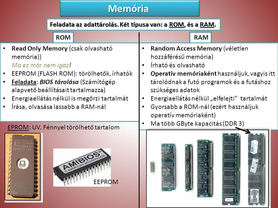 Memória Memória Feladata az adattárolás.Két típusa van: a ROM, és a RAM.