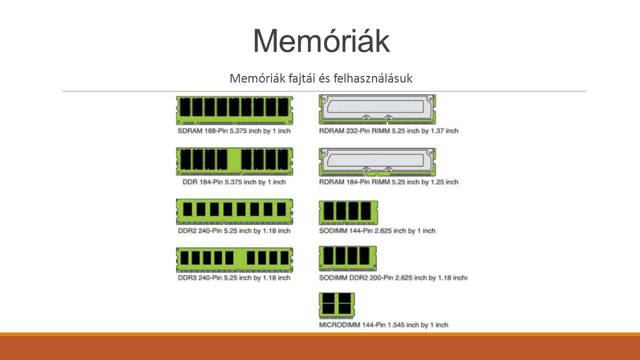 Memóriák Dinamikus központi memória Az asztali számítógépek, hordozható laptopok és konzolok is dinamikus központi memóriát alkalmaznak RÉGEBBEN HASZNÁLT DINAMIKUS RAM-TÍPUSOK -Aszinkron DRAM: a legelső dinamikus memóriák egyik változata, mely aszinkron adatátvitelt tett lehetővé, tápellátással rendelkezett, és csak néhány adatátviteli lába volt -Video DRAM: egyes videokártyák esetén, mint külön tároló memória volt alkalmazásban -Kibővített adatkimeneti (EDO) DRAM: lényegesen gyorsabb adatátvitelű, elterjedtebb aszinkron változat volt -Szinkron átvitelű DRAM (SDRAM): Ma is ezen az elven működő memóriákat használunk, részletesebb leírás a következő fejezetben