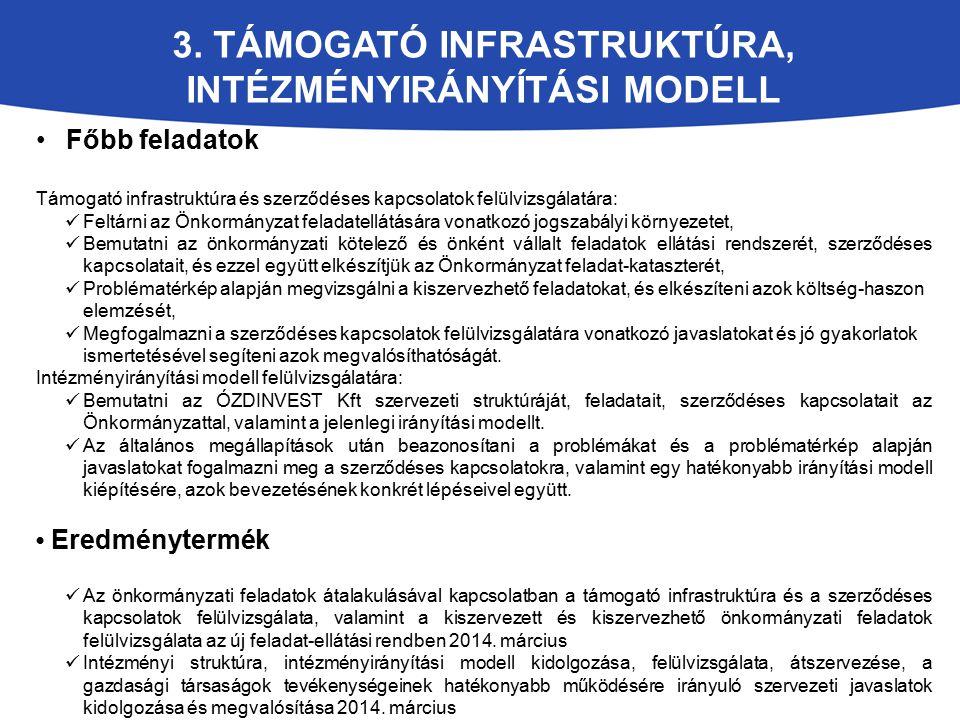 3. TÁMOGATÓ INFRASTRUKTÚRA, INTÉZMÉNYIRÁNYÍTÁSI MODELL Főbb feladatok Támogató infrastruktúra és szerződéses kapcsolatok felülvizsgálatára: Feltárni a