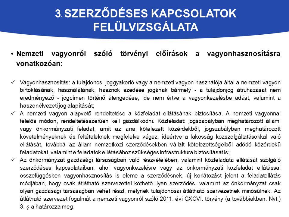 3. SZERZŐDÉSES KAPCSOLATOK FELÜLVIZSGÁLATA Nemzeti vagyonról szóló törvényi előírások a vagyonhasznosításra vonatkozóan: Vagyonhasznosítás: a tulajdon