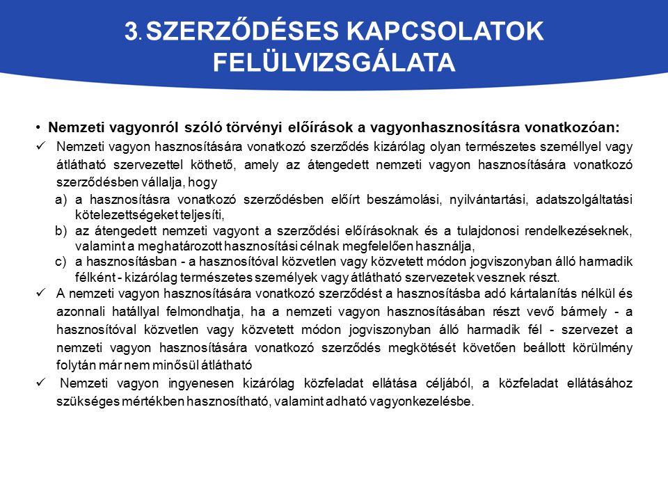 3. SZERZŐDÉSES KAPCSOLATOK FELÜLVIZSGÁLATA Nemzeti vagyonról szóló törvényi előírások a vagyonhasznosításra vonatkozóan: Nemzeti vagyon hasznosítására